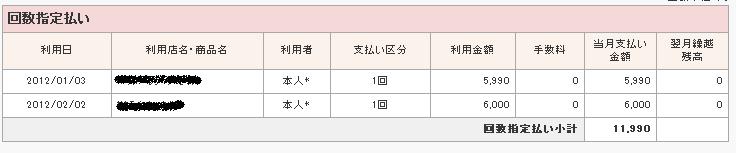 楽天クレジットカード明細画面