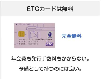 エムアイカードプラスゴールドのETCカードは無料