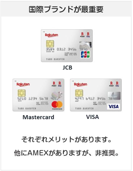 楽天カードの国際ブランドはJCB・VISA・Mastercard・AMEXがある