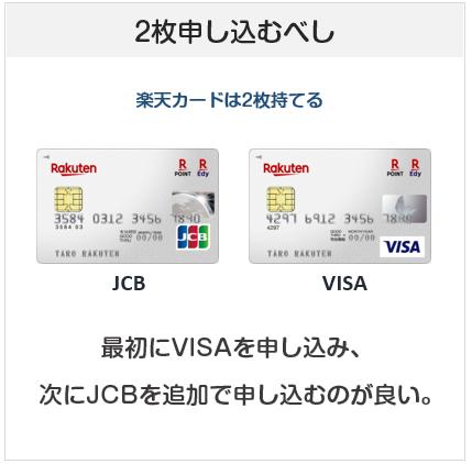 楽天カードはJCBとVISAを両方申し込むべき